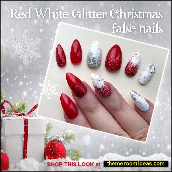 Red White Glitter Christmas nails Xmas Party nails christmas nails decorating Christmas style nail decorations