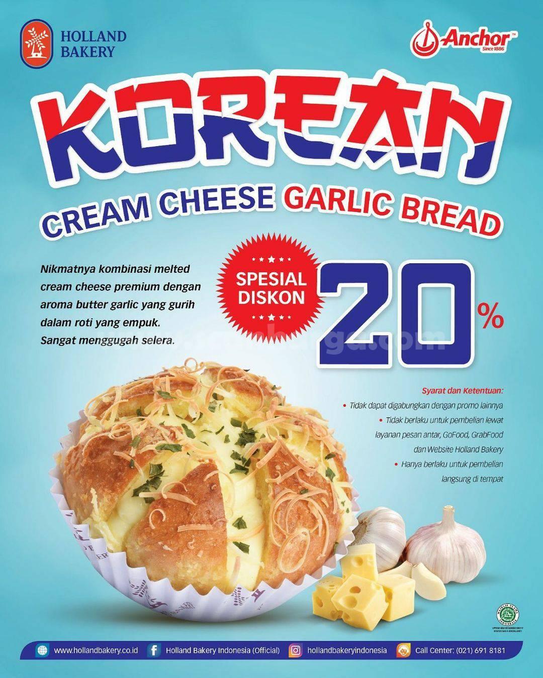 Holland Bakery Promo Harga Spesial untuk Korean Cheese Garlic Bread Diskon 20%