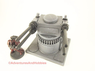 25 to 30mm scale war game scenery weapons gun turret with quad barrel cannons - front elevation.
