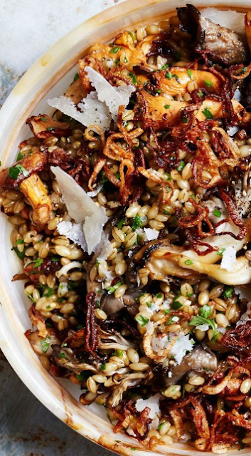 Herby Barley salad with butter basted mushrooms