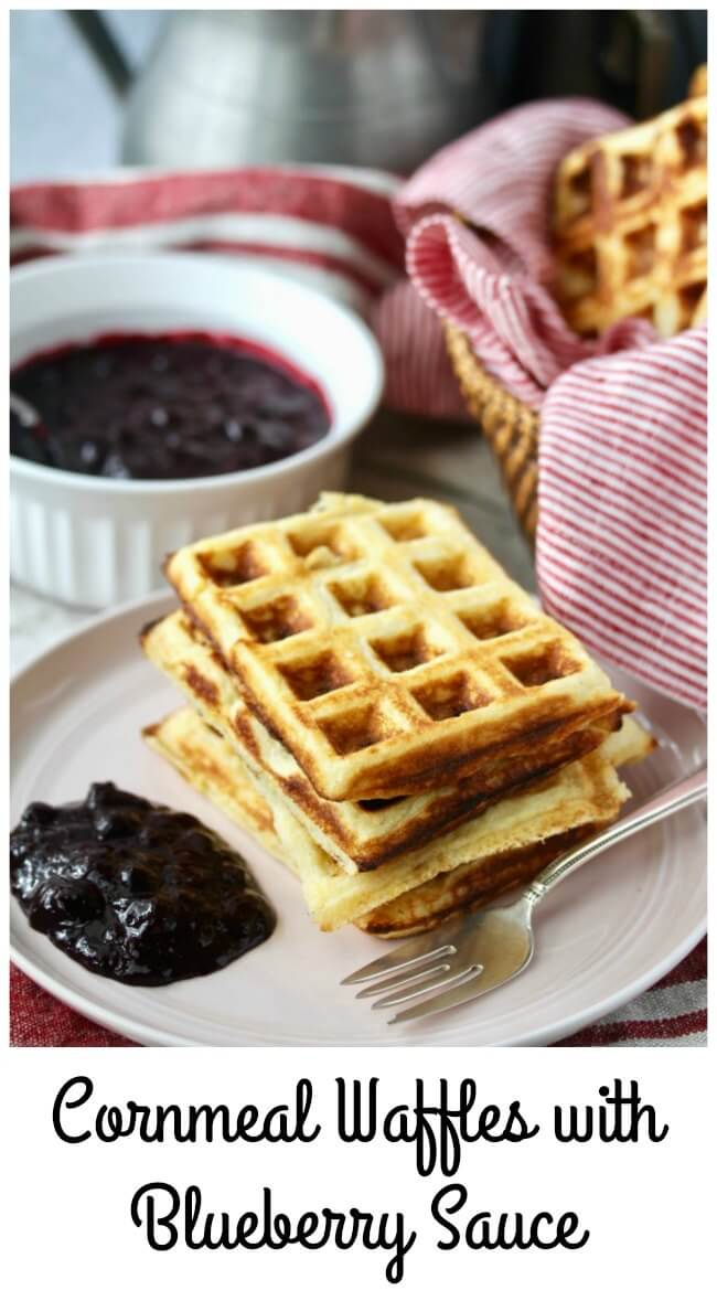 Cornmeal Yeasted Waffles and Blueberry Sauce
