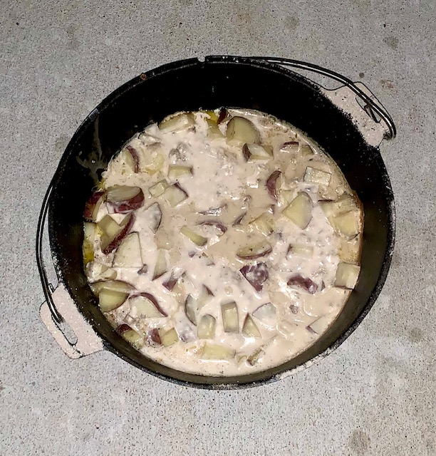 Dutch Oven Pork Chops and Potatoes with Mushroom Sauce