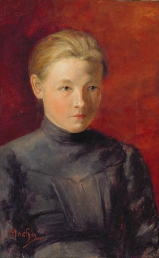 Альфонс Муха - Портрет сестры Мухи Анны. 1885