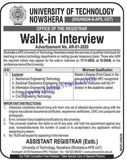 Jobs in University of Technology Nowshera Nov 2020