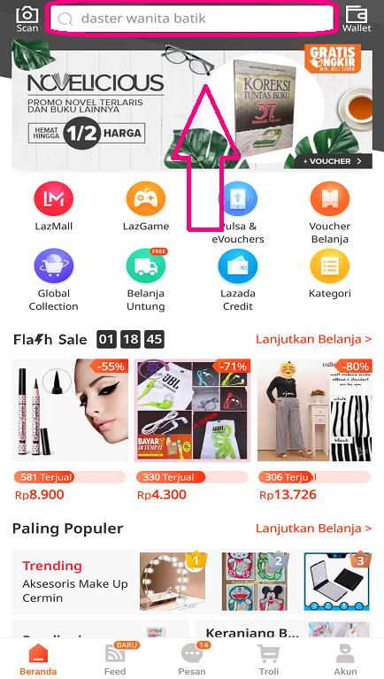 Kolom Pencarian Produk dan Penjual di Aplikasi Marketplace Lazada.