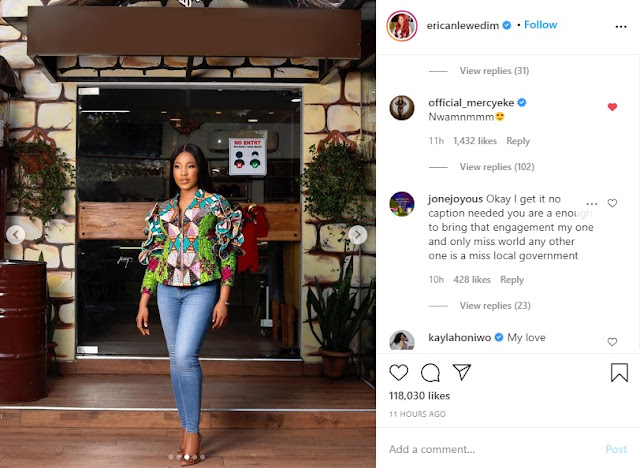 'Nwamnmmm' Mercy Eke Reacts As Erica Drops New Mouth-Watering Photos