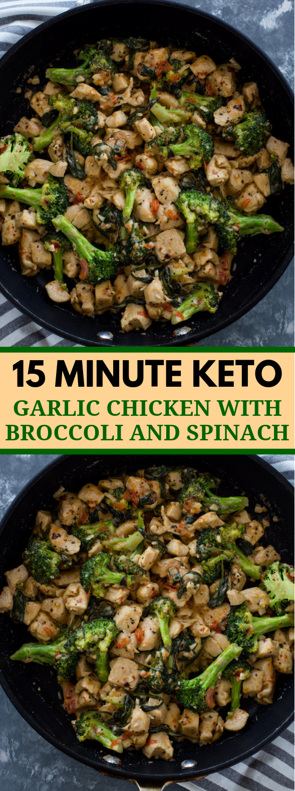 15 MINUTE KETO GARLIC CHICKEN WITH BROCCOLI AND SPINACH #ketodiet #lowcarb