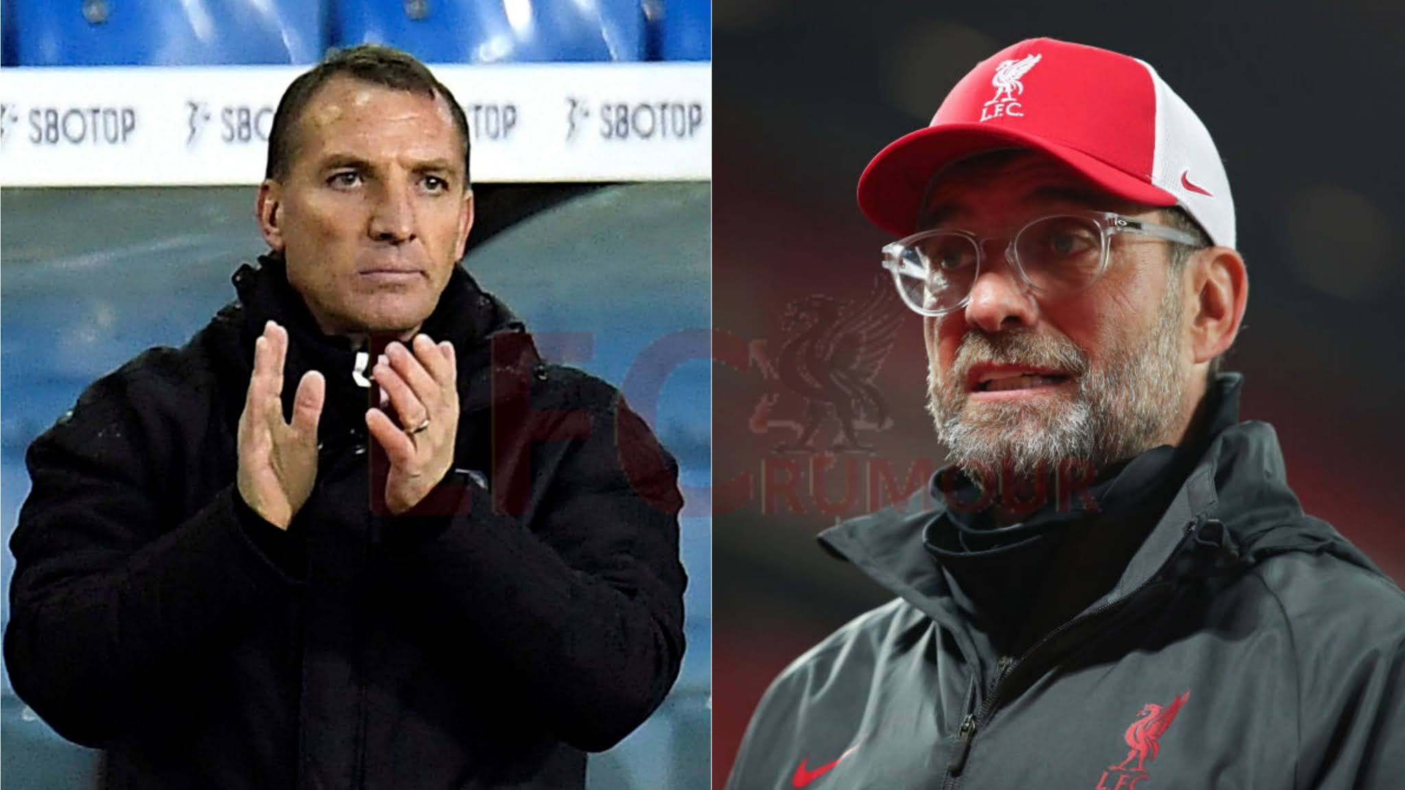 Liverpool v Leicester City: Brendan Rodgers and Jurgen Klopp.