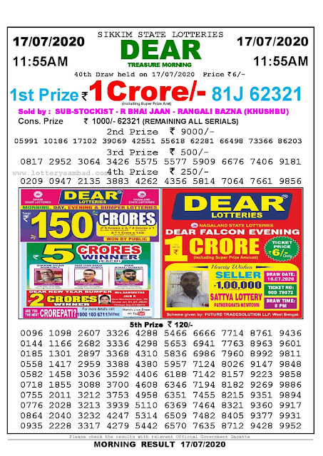 Sikkim State Lotteries 17-07-2020 Lottery Sambad Result 11:55 AM