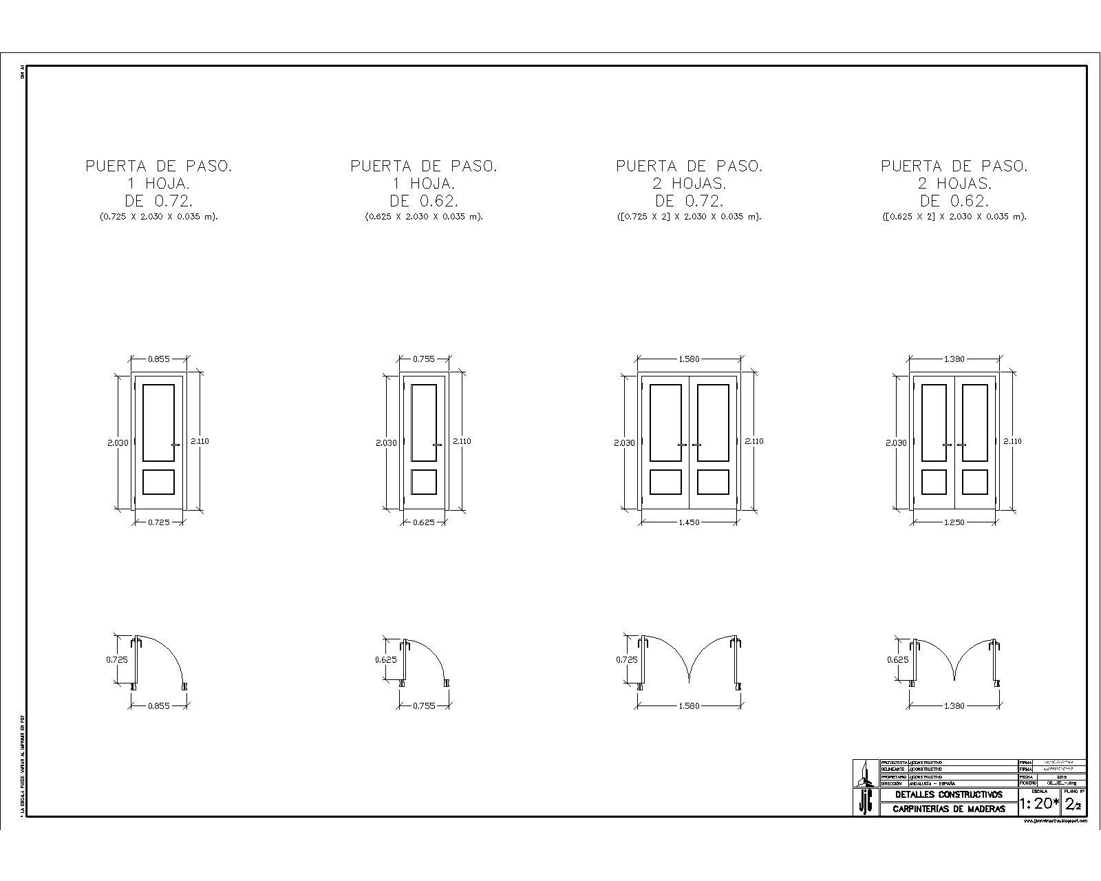 Jjconstructivo carpinter a de madera puertas for Planos de carpinteria de madera