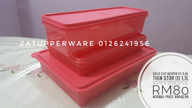 Tupperware Cold Cut Keeper (1) 3.6L+Thin Stor (1) 1.7L+Slice N Stor (1) 1.4L