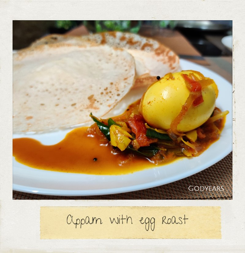 Kerala breakfast - Appam and egg roast