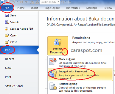 Memberi Password Pada Dokumen Word