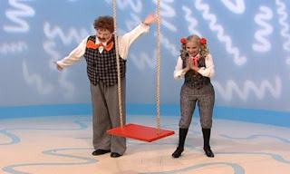 Mr. Noodle and his sister Mrs. Noodle appears. Suddenly a swing descends into the room. Sesame Street Elmo's World Friends The Noodle Family