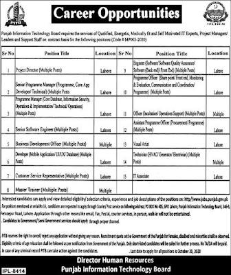 Latest Punjab Information Technology Board Jobs 2020