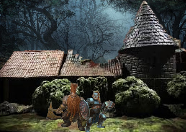 Icehammer Dwarves emerging from the Woodland Manse to confront the anchorites