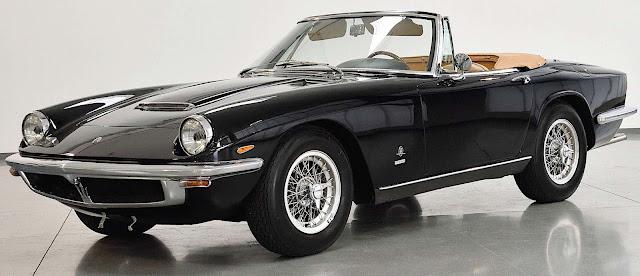 a black 1966 Maserati Mistral Spyder 3700