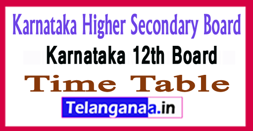 Karnataka 12th Exam Time Table