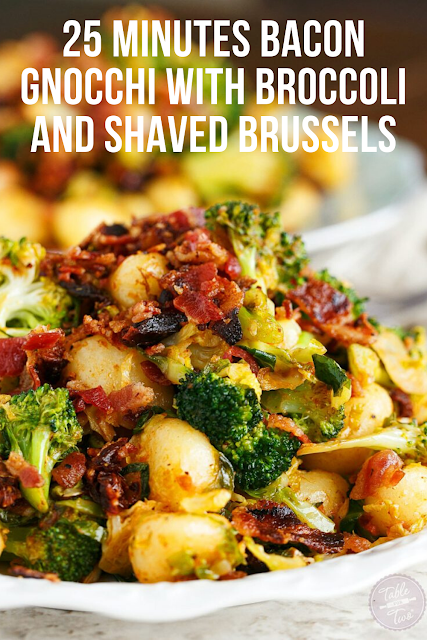 25 Minutes Bacon Gnocchi with Broccoli and Shaved Brussels