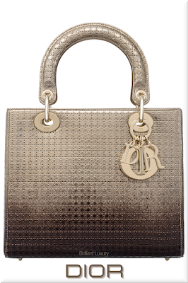 ♦Dior Lady Dior gold tone and ebony graded metallic top handle calfskin bag with micro-canage motif and iconic Dior charms in gold #dior #bags #ladydior #brilliantluxury