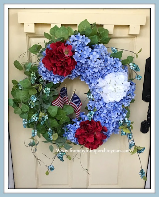 Patriotic -Porch- Decor-Hydrangea-Wreath-From My Front Porch To Yours