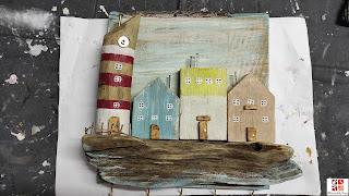 diy artesanía con madera de playa