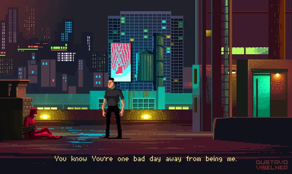 Gustavo Viselner ilustrações pixel art filmes tv referências Daredevil (Marvel - Demolidor)