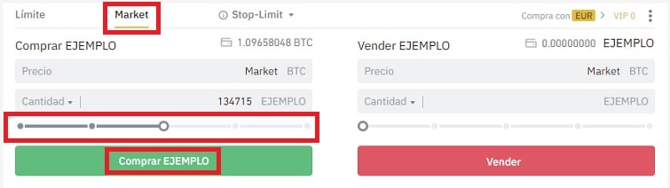 Comprar Criptomoneda ARK Binance Market y Limit Trading