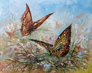 Бабочки в траве 30х24см.