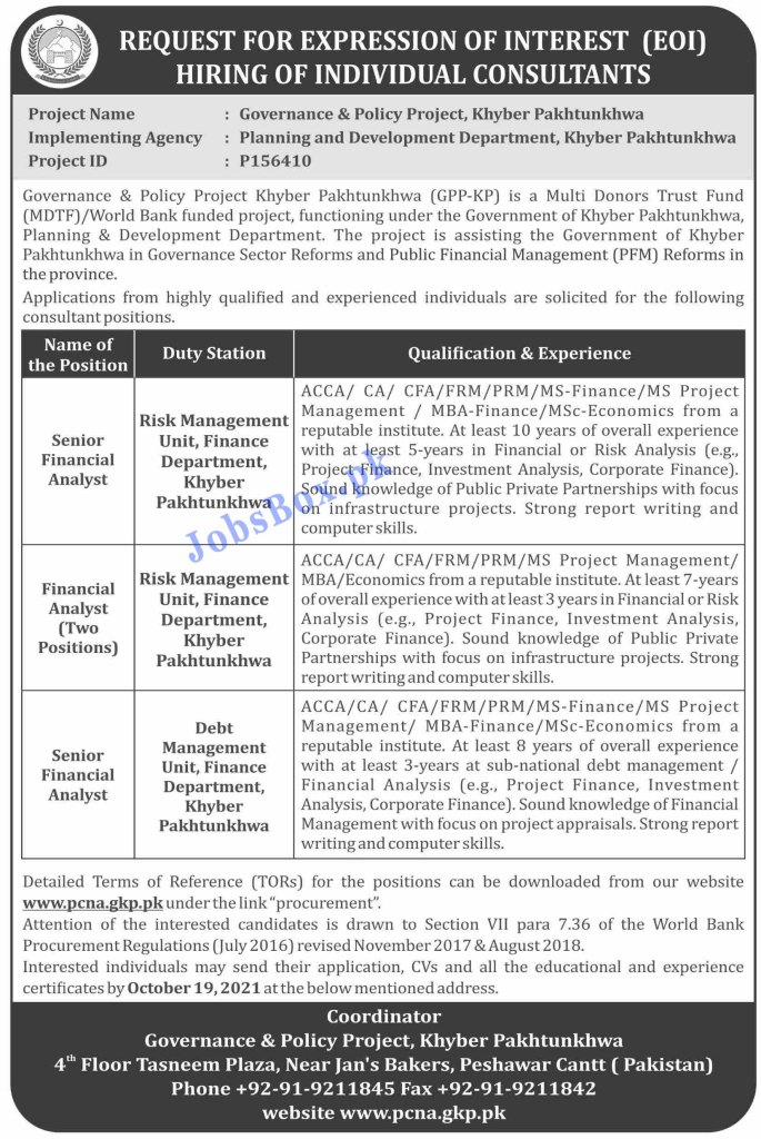 www.pcna.gkp.pk - Planning and Development Department KPK Jobs 2021 in Pakistan