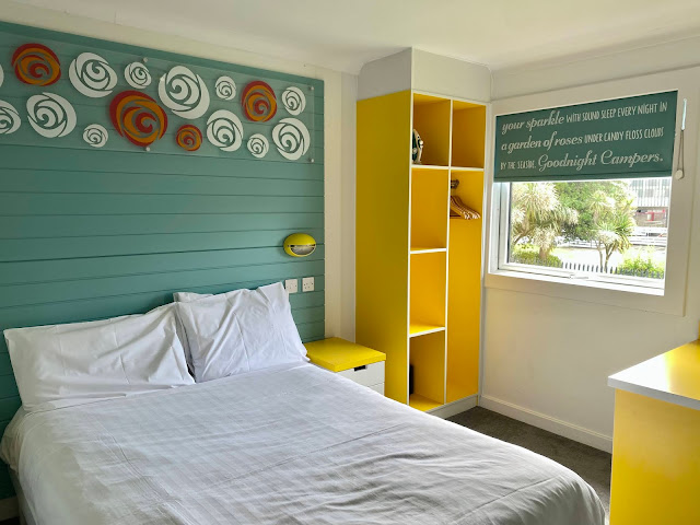 Double bedroom in Seaside Apartment at Bognor Regis Butlin's showing double bed, decor and wardrobe