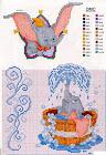 Punto de cruz Dumbo para canastillas bebé
