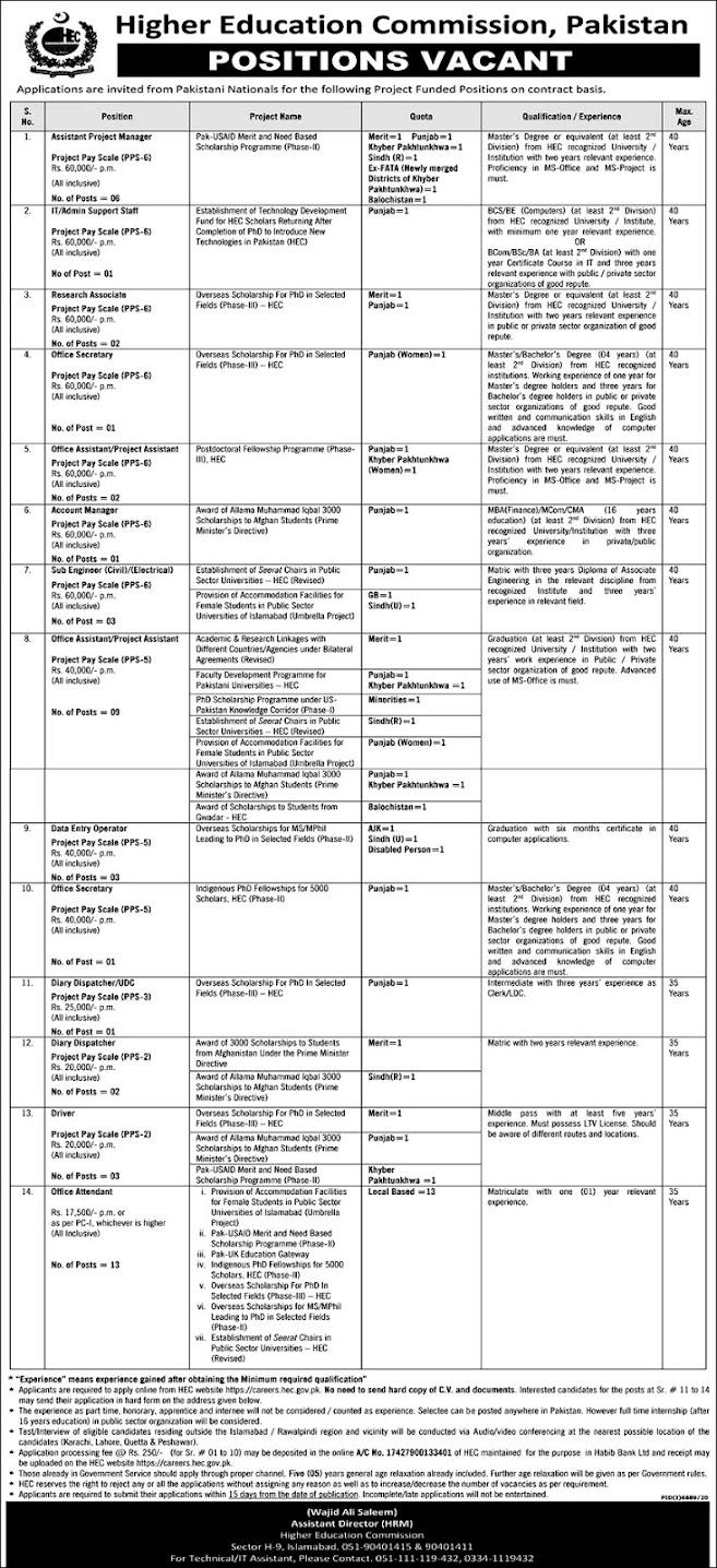 New Jobs in New Jobs in Higher Education Commission HEC Pakistan June 2021 -Apply OnlineHigher Education Commission HEC June 2021 -Apply Online