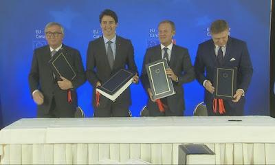 トルドー首相とEU首脳