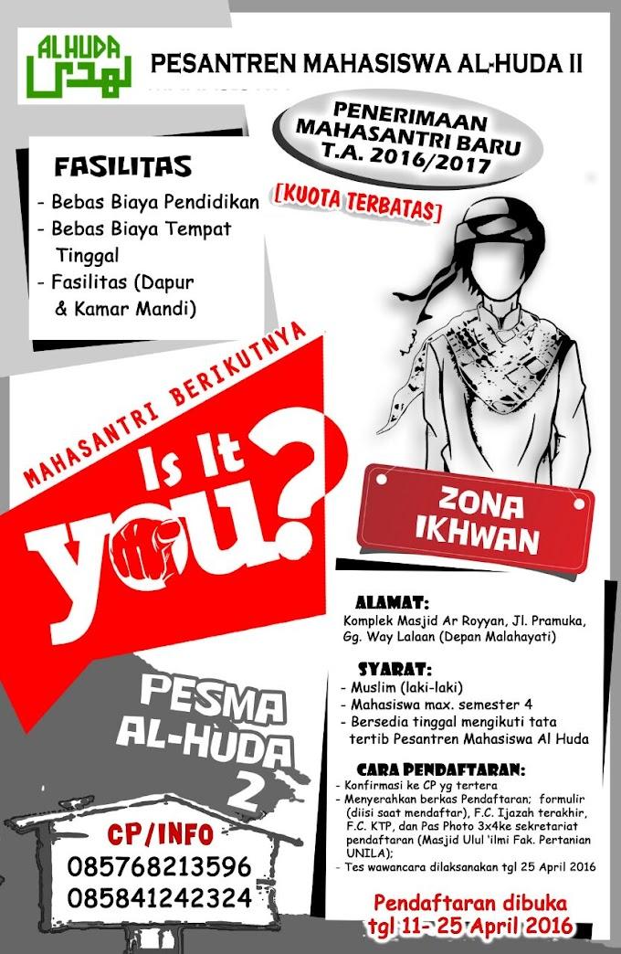 Info Terbaru! Penerimaan Mahasantri Baru Pesantren Mahasiswa Al-Huda II