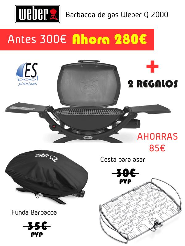 Barbacoa de gas Weber Q2000. De venta en Espool Piscinas.