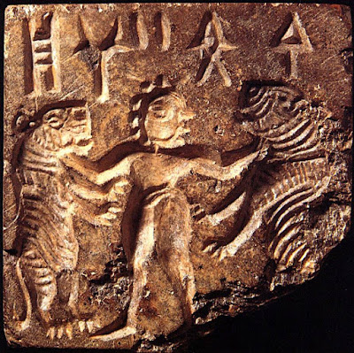 Mohenjo-Daro seal depicting a man grappling with two tigers.