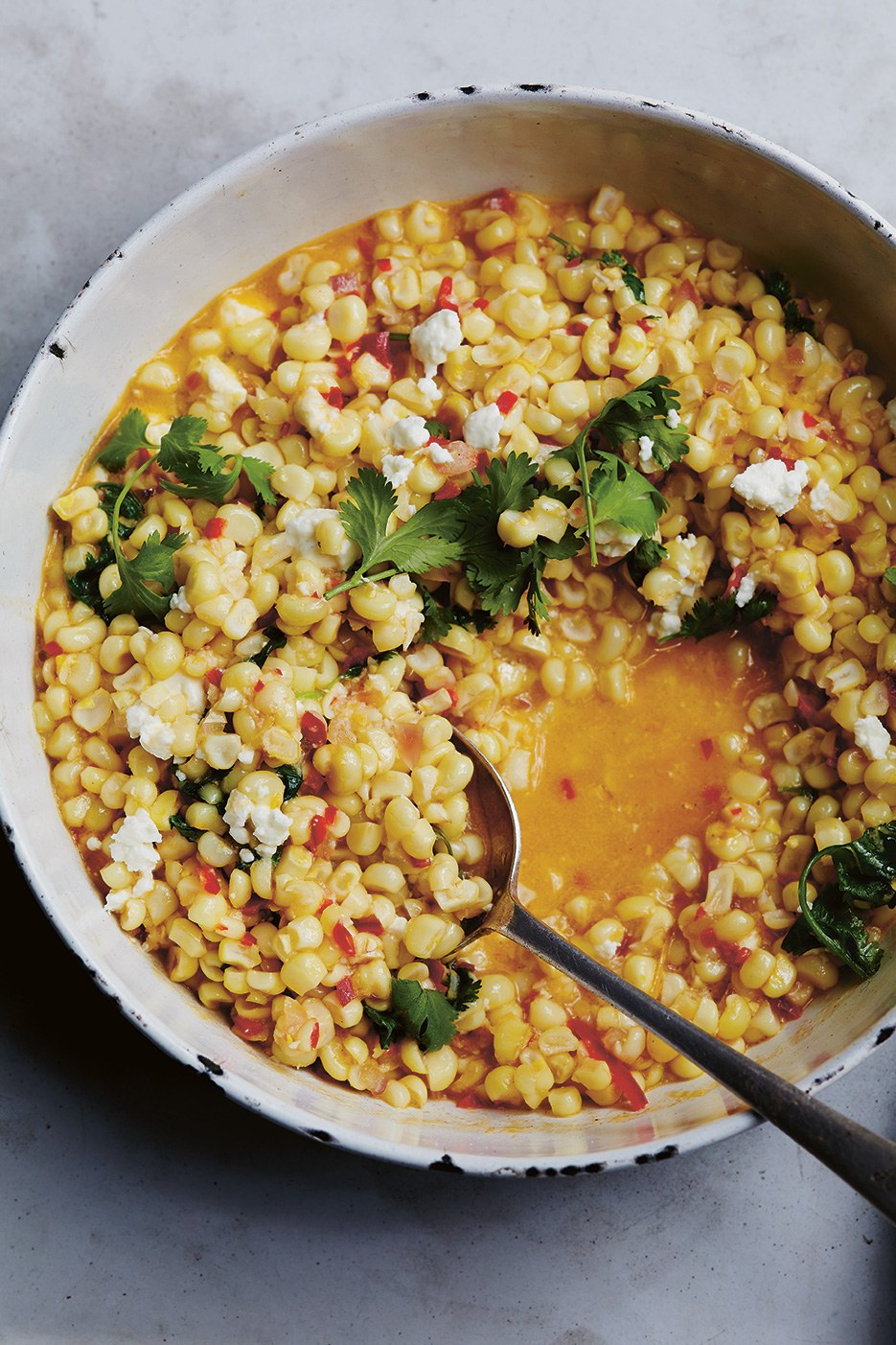 Recipe: Braised Sweet Corn with Chile, Cilantro, Feta and Lime