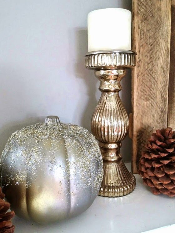 Spray paint and glitter pumpkins for a sparkly, elegant look that coordinates with mercury glass www.diybeautify.com