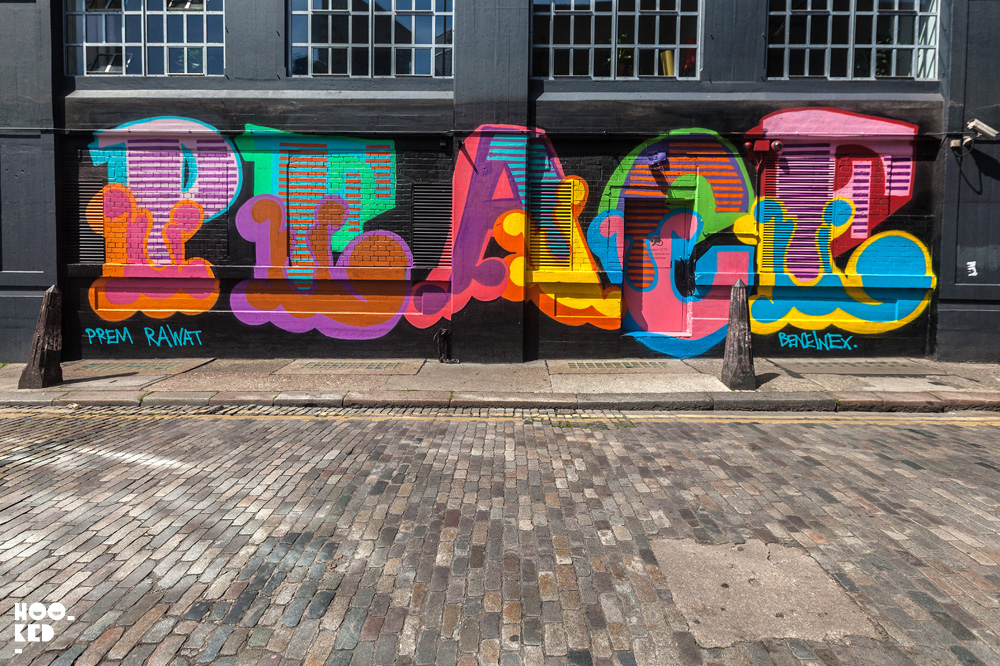 Street Art Mural by Ben Eine ' Peace Is Possible' Shoreditch. Photo ©Hookedblog / Mark Rigney
