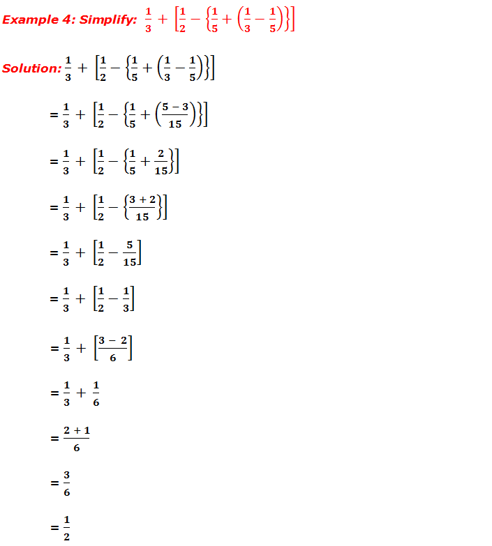 Example 4: Simplify fractions