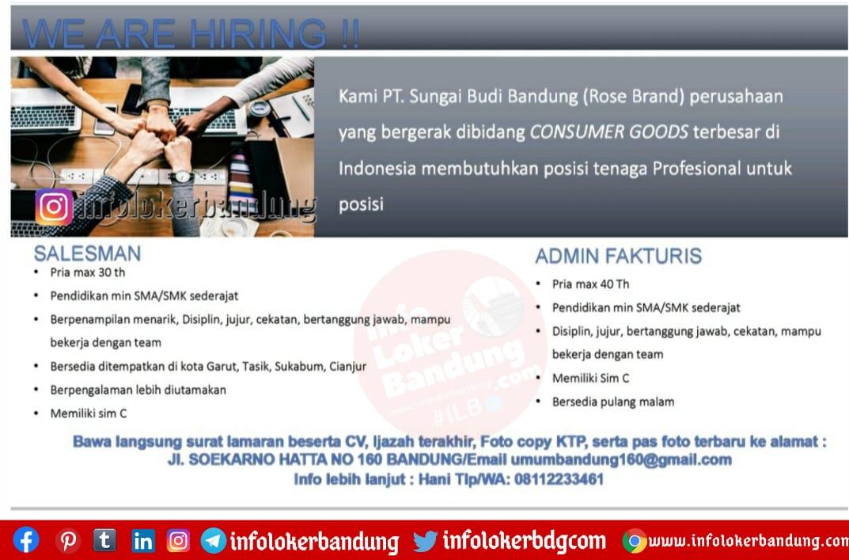 Lowongan Kerja PT. Sungai Budi ( Rose Brand ) Bandung Desember 2020