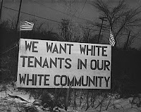 Sign in public housing complex, Detroit, 1942