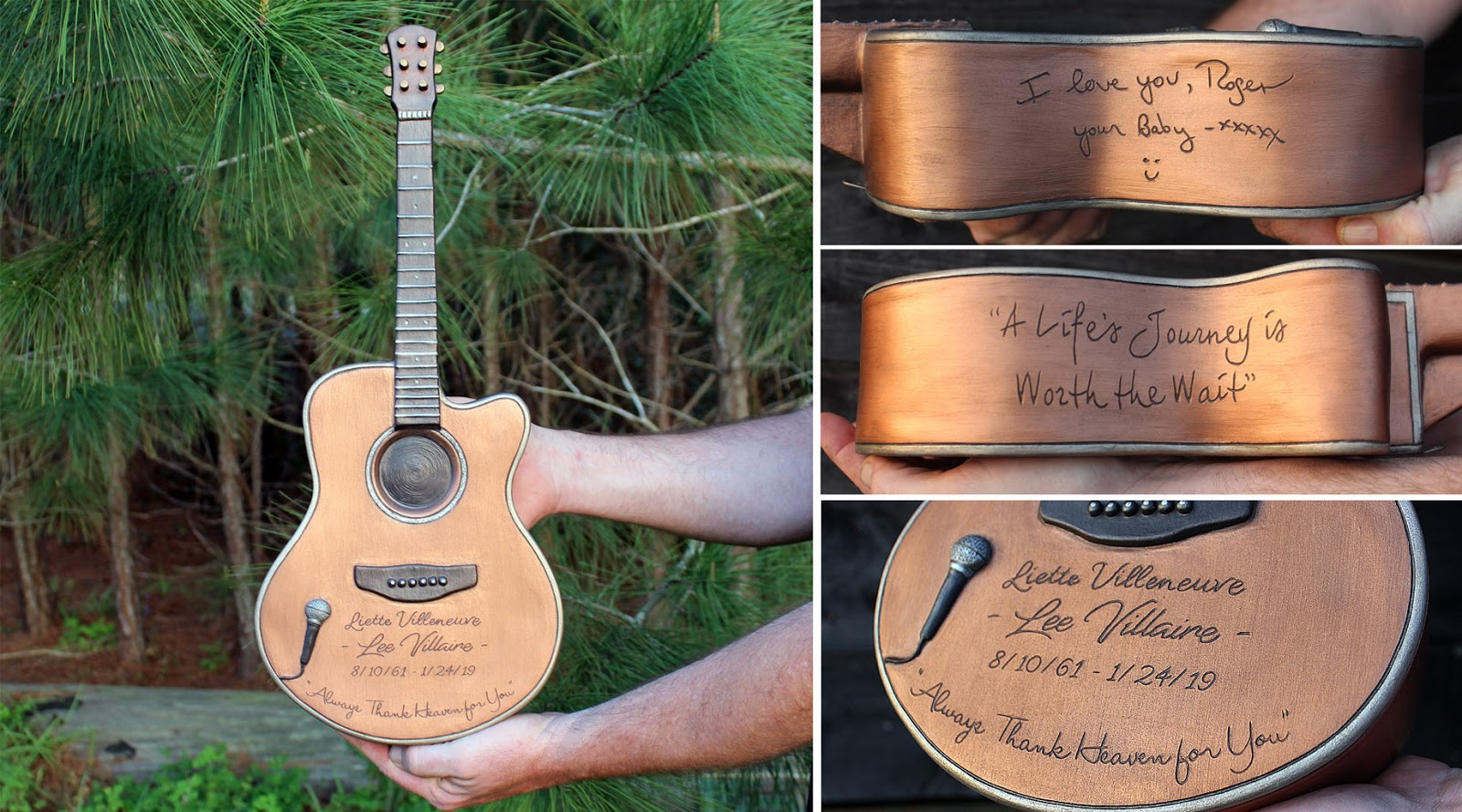 Custom guitar urn for Lee Villaire