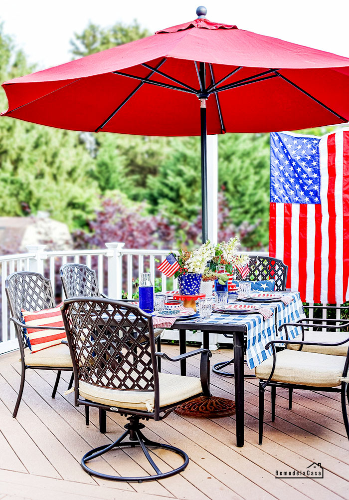 outdoor dining set on deck