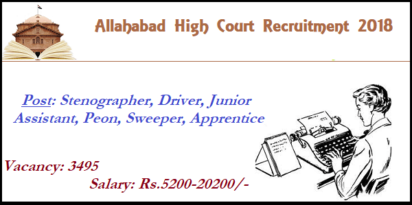 Allahabad High Court Recruitment 2018 || Apply for 3495 Post