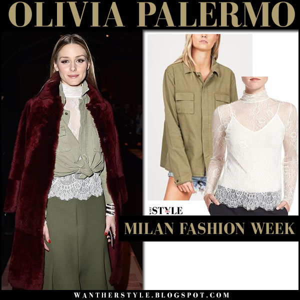 Olivia Palermo in burgundy fur coat, army green shirt and green skirt milan fashion week what she wore front row 2017