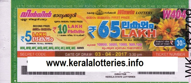 Win Win (W-405) Kerala lottery live result on 10 April 2017