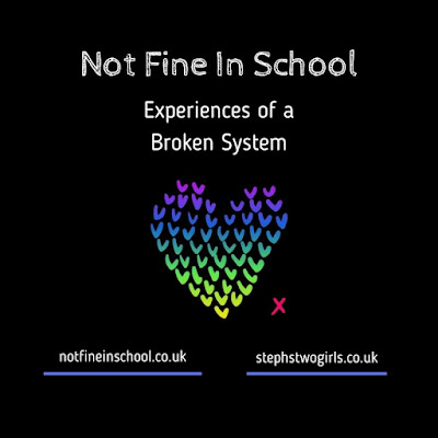 A black background with a multicoloured heart logo in the middle, with the words not fine in school, experiences of a broken system