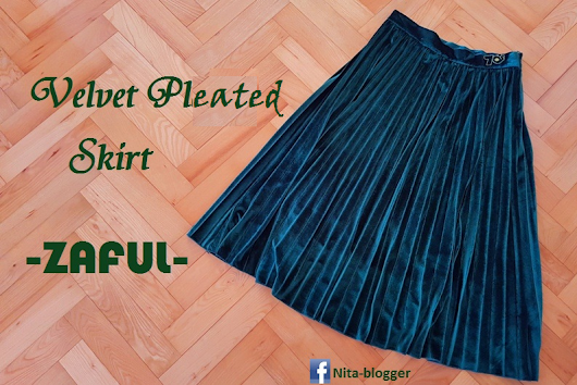 Velvet Pleated Midi Skirt - Zaful